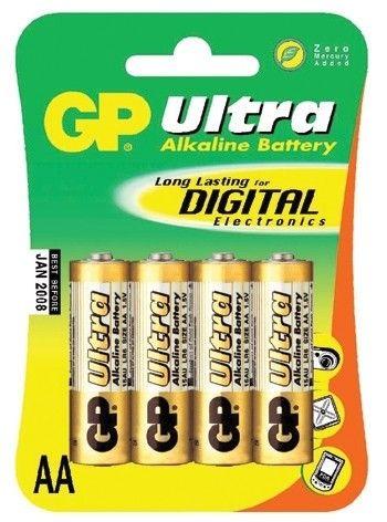 Alkalická baterie AA, LR6, tužka, blistr 4 GP Ultra Alkaline GP Batteries