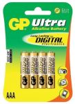 Alkalická baterie AAA, R03, blistr 4  GP Ultra Alkaline