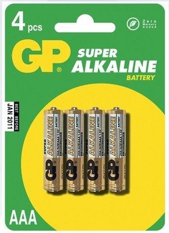 Alkalická baterie AAA, R03, mikrotužka, blistr GP Super Alkaline GP Batteries