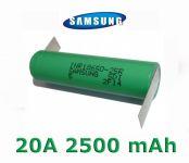 Baterie Samsung INR 18650-25R Li-Ion 2500mAh 20A - vývody