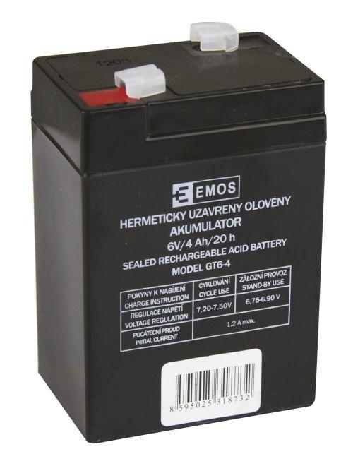 Bezúdržbový olověný akumulátor GT6-4 ke svítilnám Emos